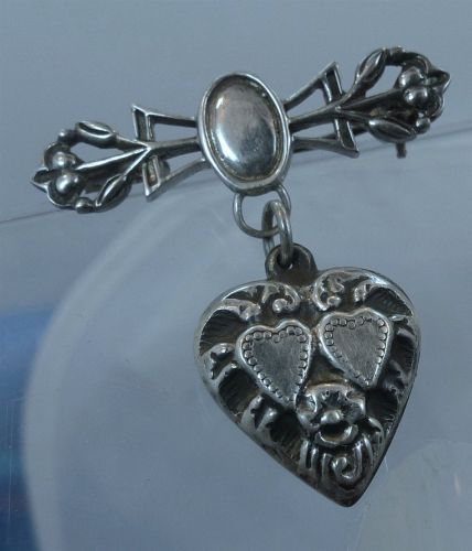PENDANT / BROOCH : vintage HEART CHATELAINE : sterling silver BOTH PIN and CHARM