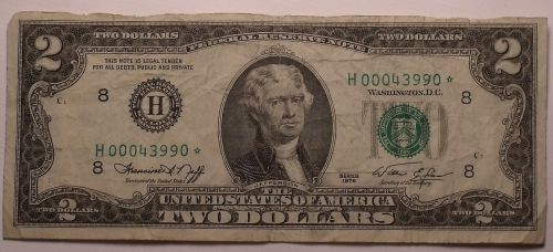 United States 1976 $2.00 Bicentennial Star* Note~Low Serial Number~Free Shipping
