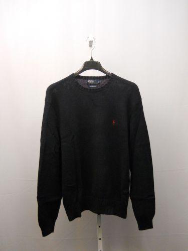 SIZE XL Mens Sweater RALPH LAUREN Solid Navy Crew Neck Rib Waist Long Sleeves