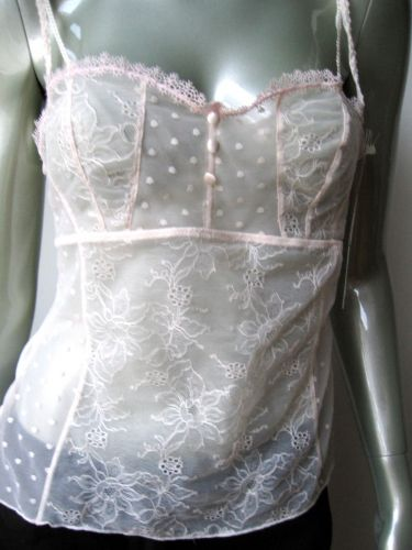 A0280CM Felina NEW 7609 Pink Nicole Floral Embroidered Lace Sheer Mesh Camisole