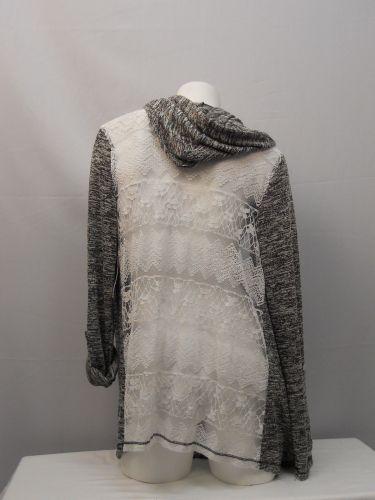No Boundaries Women's Wrap Cardigan Size XL Black Marl Hooded Ivory Lace Back