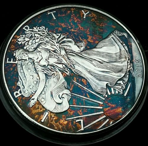 2015 Rainbow Toned Silver American Eagle 1 ounce fine silver uncirculated #a275