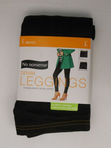No Nonsense Womens Denim Leggings Size L Black Comfort Elastic Waist Back Pocket