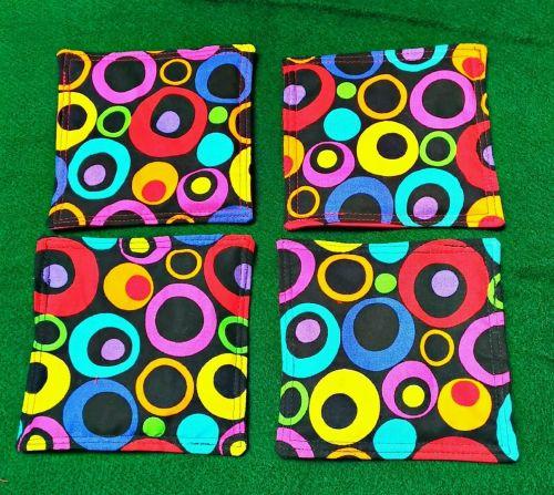 Drink Coasters set of 4 retro mod circles print 100% Cotton fabric Handmade