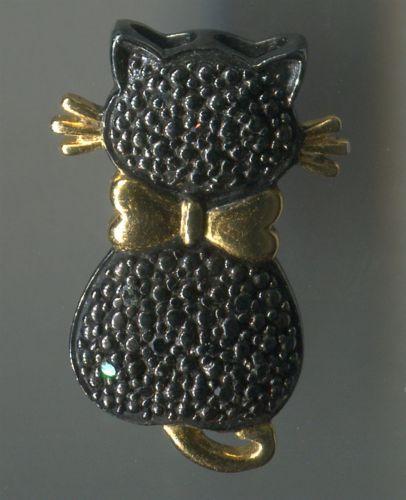 Black Cat Pendant Sterling Dozen Black Diamonds Gold Vermeil Tail Bow & Whiskers