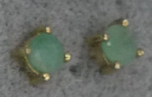 Stud Earrings : Gold Vermeil on Sterling and Jade By FAS : 4mm Stone