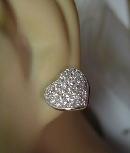 Sterling 925 Silver Pave Heart Pierced Post Earrings By RP China