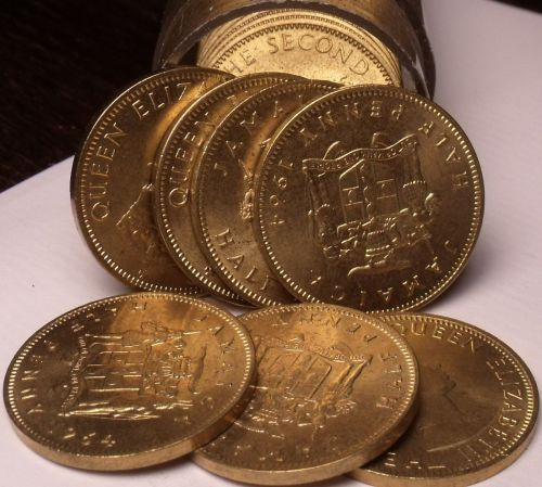 Uncirculated Roll (40) Jamaica 1964 Half Pennys~Put Away Over 50 Years Ago~Fr/Sh
