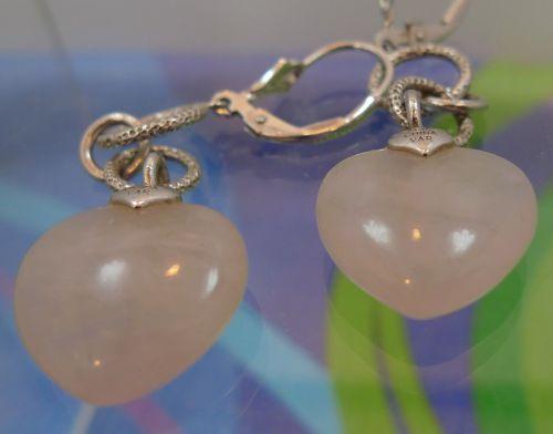 """Hook Earrings : Pink Quartz signed by Sterling Designer """" VAR"""" China"""