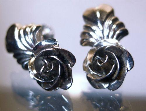 Screw Back Earrings : Vintage Sterling 925 Silver Roses Flowers by Bond Boyd