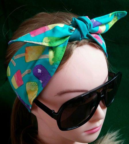 Headband Hair Wraptie Bandana Popsicles Print self tie 100% Cotton hand made