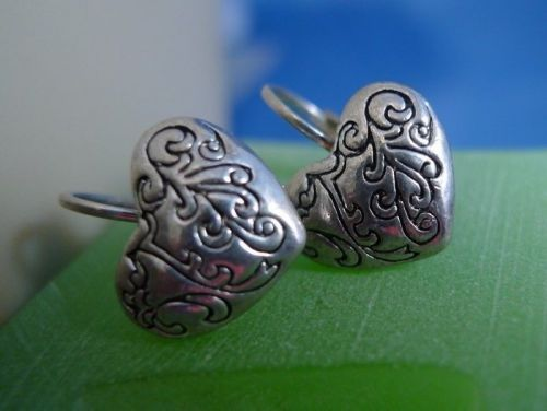 Leverback Hook Earrings: Silver Etched Heart Designer Quality