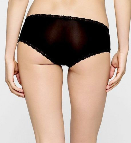 X304 Calvin Klein NEW D3027 Black Ultra Low Rise Lace Opening Microfiber Hipster