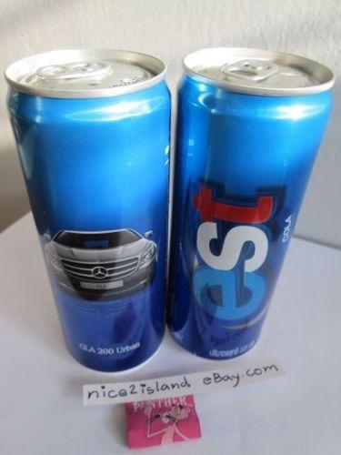 BENZ GLA 200 Urban Advertising on Soda Cola Cans Lot of 3 Empty Tins Bottom leak