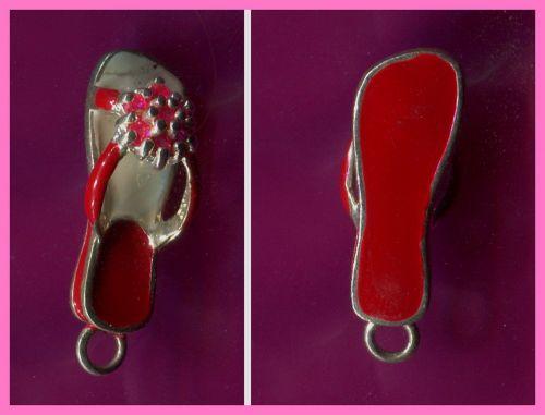 Sterling & Gems & Red Enamel FLIP FLOP SANDAL CHARM #33