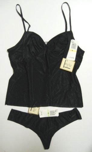 A0270CM Felina NEW Black Paper Thin Hint Of Skin Day Wear Camisoles 7302 M L PR
