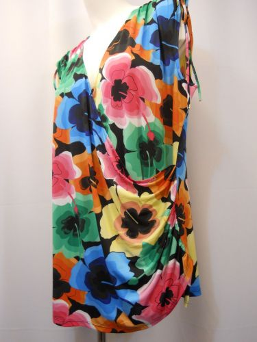 Milano Women's Knit Top Plus Size 1X Colorful Floral CrissCross Wrap Ruched Side