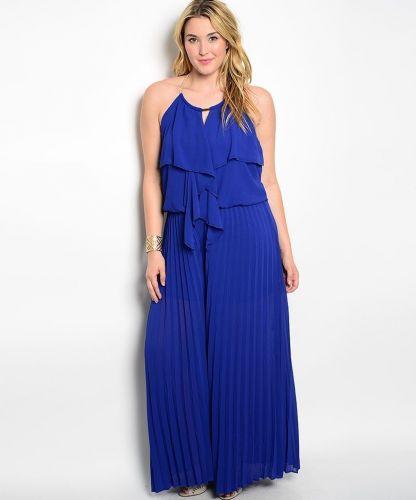 VivaYou Blue Ruffled Bodice Halter Neck Pleated Wide Legs Jumpsuit Size 1XL-3XL