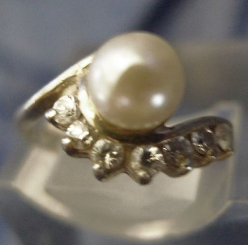 sz 5 Ring Sterling Silver 7mm Pearl w/ Marquis Rhinestone Accents Signed JC