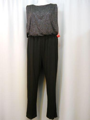 Enfocus Jumpsuit Plus Size 18W Black Glitter Boat Neck Sleeveless Straight Leg