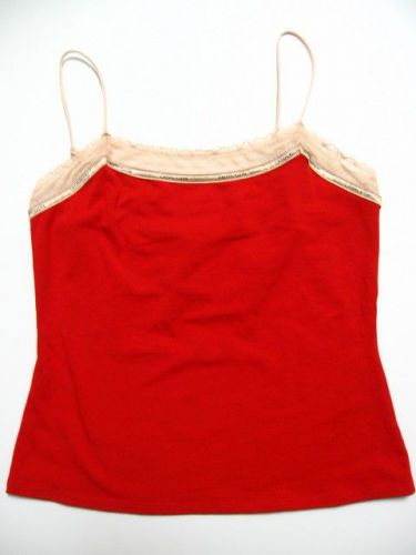 X297 Calvin Klein NEW D1211 Red Perfectly Fit Logo Lace Neckline Camisole L PR