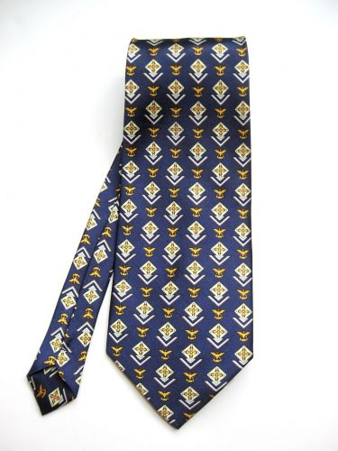 A0475 Boss NEW Italian Silk Navy/Gold Patterned Wide Neck Tie Made In Italy PR
