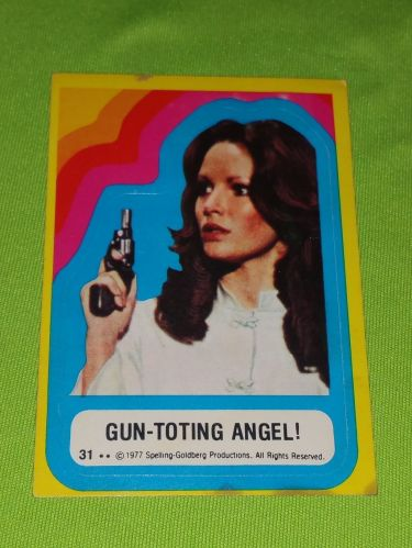 VINTAGE 1977 CHARLIES ANGELS TELEVISION SERIES COLLECTORS STICKER CARD #31 GD-VG