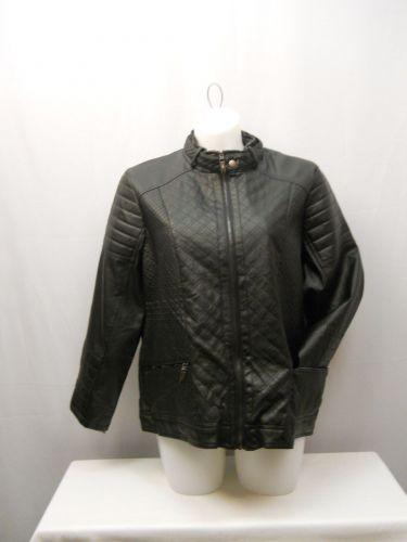 Laura Lane Women's Motorcycle Jacket Plus Size 2X Black Zip Front/Sleeves/Pocket