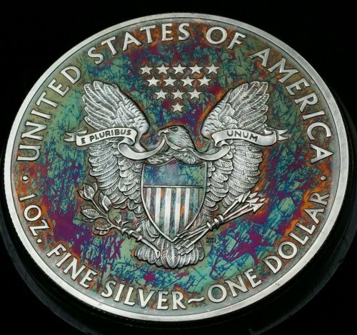 2015 Rainbow Toned Silver American Eagle 1 ounce fine silver uncirculated #a286