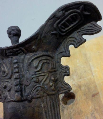 """CHINESE ARCHAISTIC BRONZE TRIPOD RITUAL WINE VESSEL, """"JUE"""""""