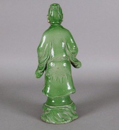 EARLY MING DYNASTY(1368-1644) GLAZED STONEWARE FIGURE OF A STANDING IMMORTAL
