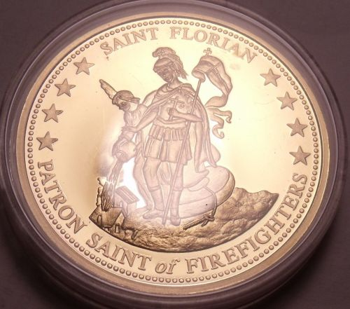 Huge Proof 24k Gold Plated Firefighters Creed Medallion~Saint Florian~Free Ship