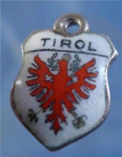TIROL Enamel & 800 Silver Travel Shield Souvenir Charm signed REU