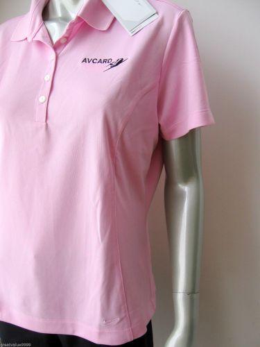 Nike Golf NEW Avcard Womens Tech Pique Polo Dri-Fit 30 UPF Short Sleeve Top L PR