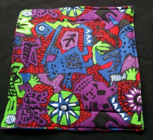 100% quilted Cotton Pot Holder Aztec tribal design hand made