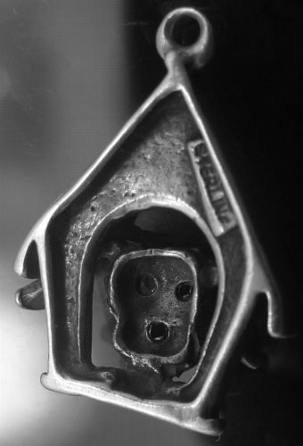 vintage CHARM : STERLING FLOPPY EARRED PUPPY IN THE DOG HOUSE 925