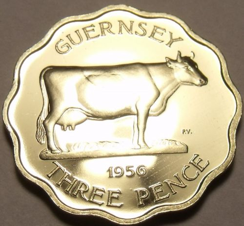 Extremely Rare Proof Guernsey 1956 3 Pence~2,100 Minted~Guernsey Cow~Free Ship