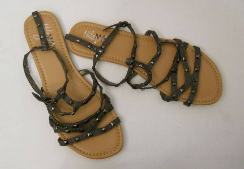 SIZE 10 Womens Gladiator Sandals MILEY CYRUS Max Azria Ankle Straps Buckle