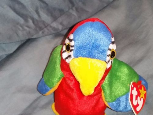 RETRO ORIGINAL TY BEANIE BABY PLUSH JABBER PARROT COLLECTIBLE NICE