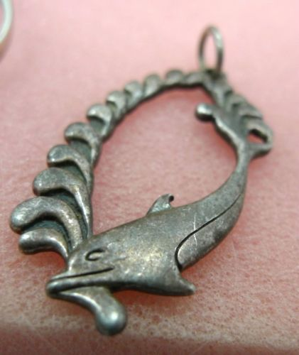 Sterling Silver Dolphin Diving In The Waves Pendant signed SC (Silver Cloud)