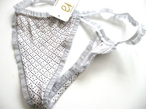 A0170 Teri Intimate NEW Grid Silver Shimmering Stretch Microfiber Thong S M L PR