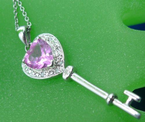 "Pink Ice Heart Stone Skeleton Key Sterling Pendant 18"" Chain"