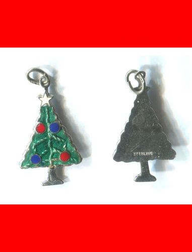 vintage ENAMEL 25mm TALL CHRISTMAS TREE CHARM