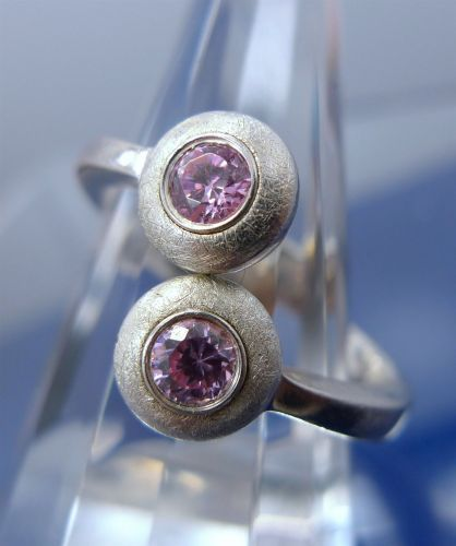 sz 9 Sterling Silver Bypass Ring Pink Ice signed 925 w/ Crescent Moon Hallmark F
