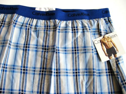 X309 Calvin Klein NEW U1570 Men's Blue Checker Woven Slim Fit Boxer Shorts XL PR