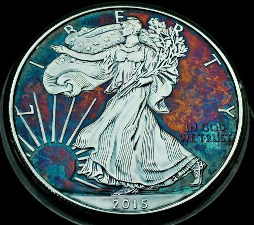 High Grade Rainbow Toned Silver American Eagle 1oz fine silver uncirc. #a306