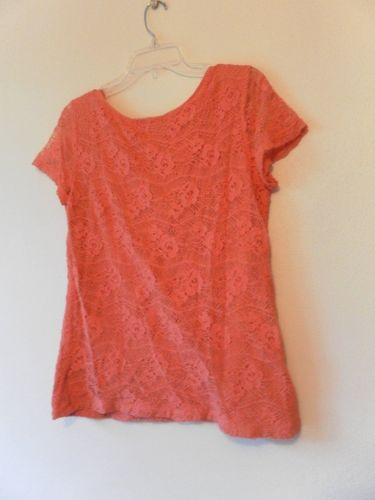 Womens Scoop Neck Short Sleeve Knit Top with Lace Overlay Size L Melon
