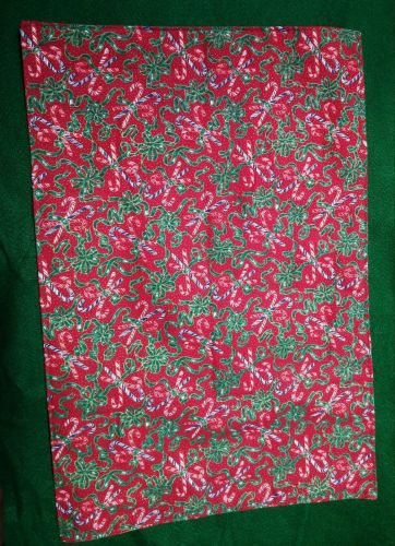 Set of four (4) handmade cloth placemats Candy Canes on Red 100% Cotton