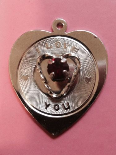 Vintage Sterling Silver Heart Charm by Spencer : I Love You