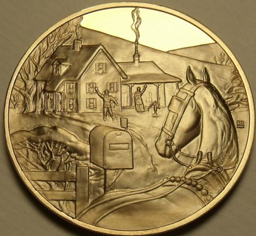 Solid Bronze Proof Franklin Mint Medallion~Home For Christmas~Incredible~Free Sh